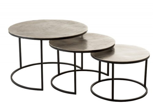 Set de 3 Tables Gigogne Ronde argent