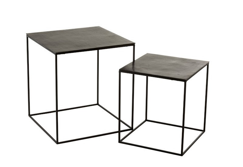 Set De 2 Table Gigogne Carree Oxidize J Line By Jolipa 96997