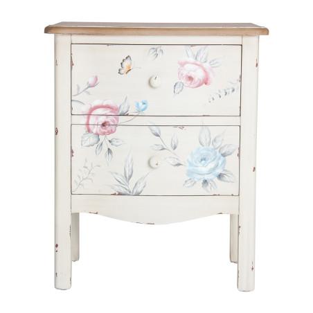 Table de chevet motif floral