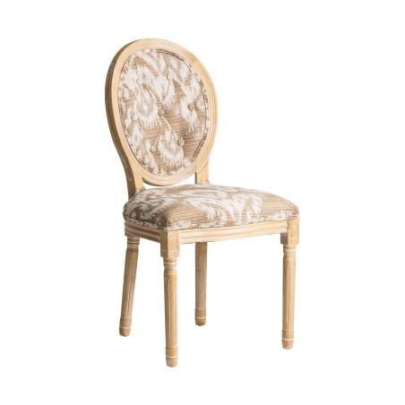 Chaise médaillon en tissu beige DERBY