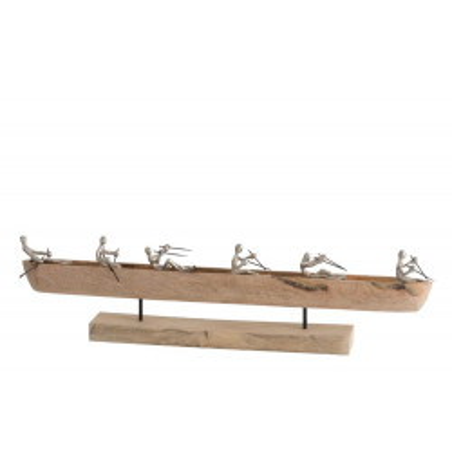 Statue bateau 6 rameurs en bois et aluminium