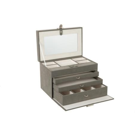 Grande boite à bijoux simili cuir gris J-Line
