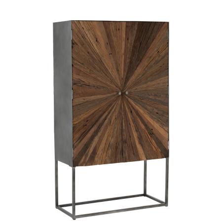 Armoire Shanil 2 portes bois brut et métal J-Line