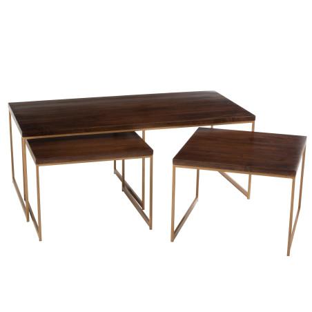 Set de 3 tables bois massif Reyi