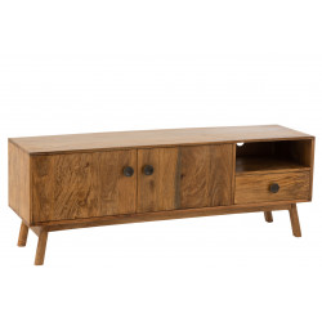Meuble TV Lora 2 portes + 1 tiroir bois de manguier marron