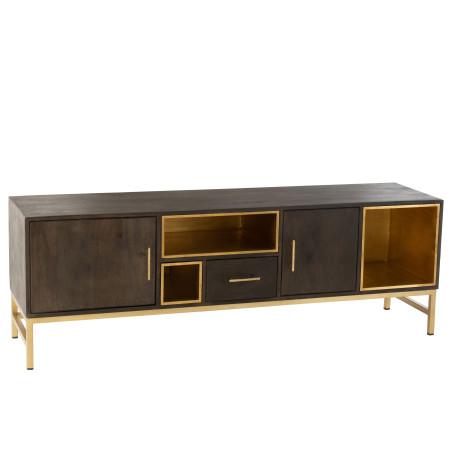 Meuble TV Janis 3 Portes bois massif métal