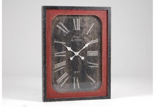 Horloge Rectangle. Rouge Anatole AMADEUS