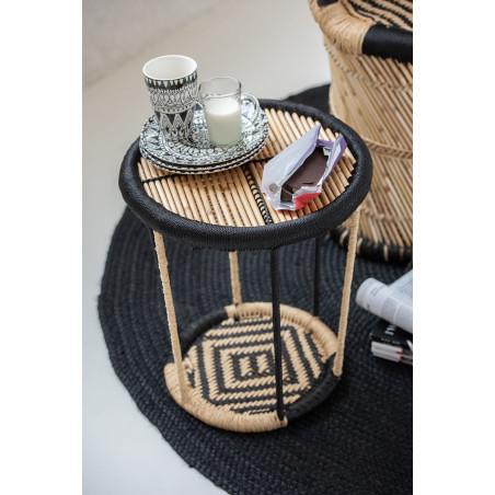 Table d'appoint bambou clair et noir