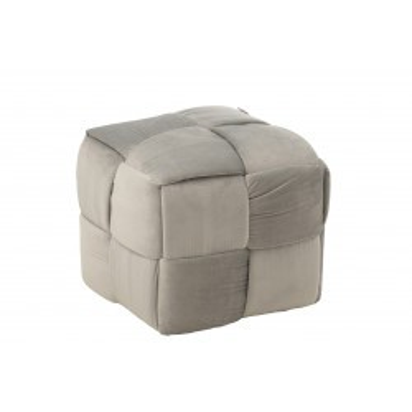 Pouf Design Grège Bois/Textile