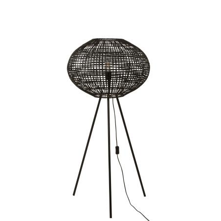 Lampe trépied rotin/métal noir