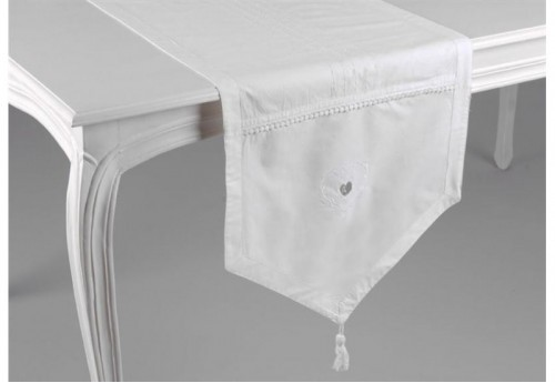 Chemin De Table 45X150 Blanc D'Amour AMADEUS
